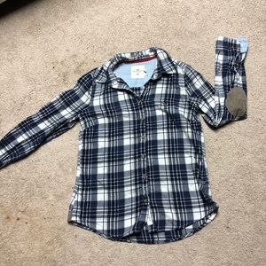 H&M Blue and White Plaid Long Sleeved Top